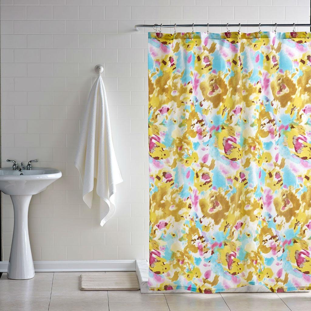 Bathroom Interior White Flower Shower Curtain Hooks Bath And