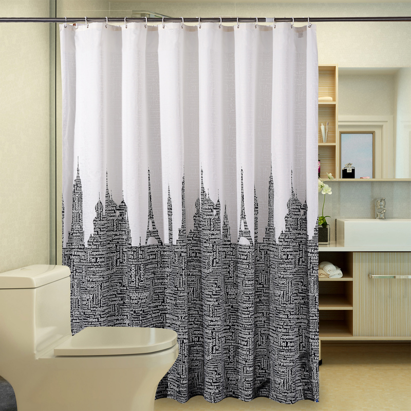 Modern Black And White Shower Curtain Waterproof Letter Eiffel Tower